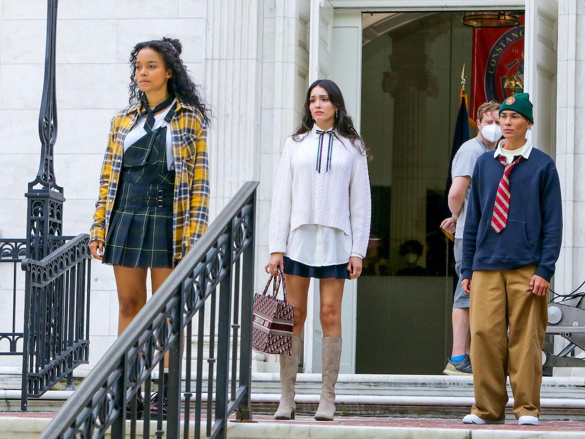 Whitney Peak, Zion Moreno, and Evan Mock on the set of the Gossip Girl reboot