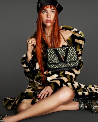 Dua Lipa for Versace's Fall 2021 campaign.
