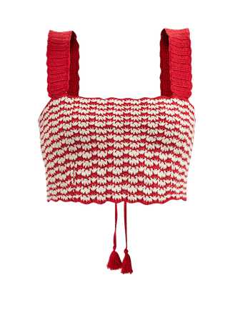 Lace Up Hand-Crocheted Top