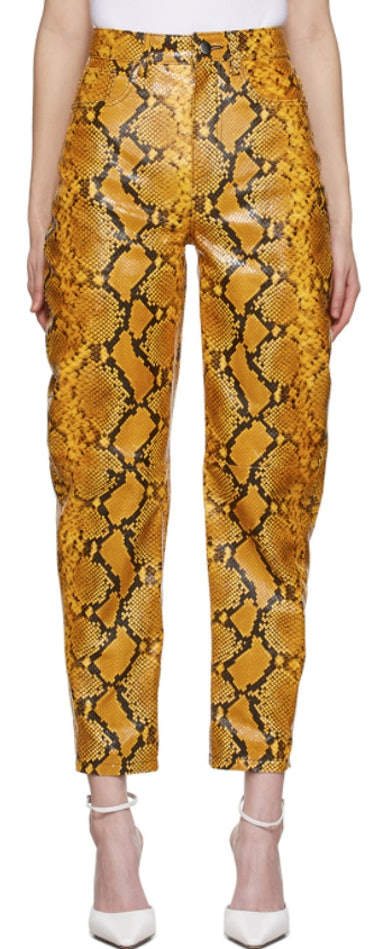 Yellow Leather Python Slouchy Pants