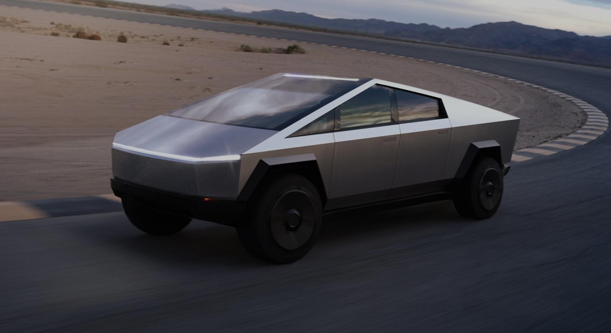 Tesla's electric pickup truck, the Cybertruck. Electric vehicles. EV. EVs. Electric cars. Automotive...