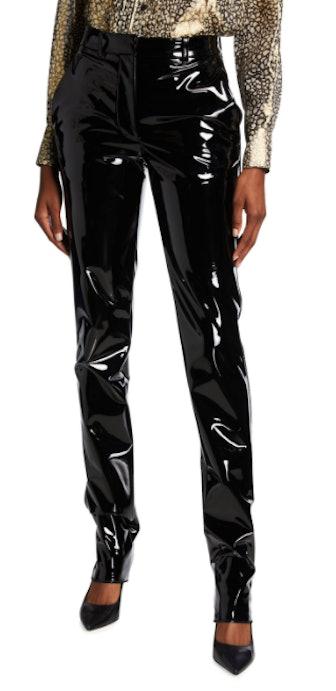 Shiny Vinyl High-Rise Slim-Fit Trousers