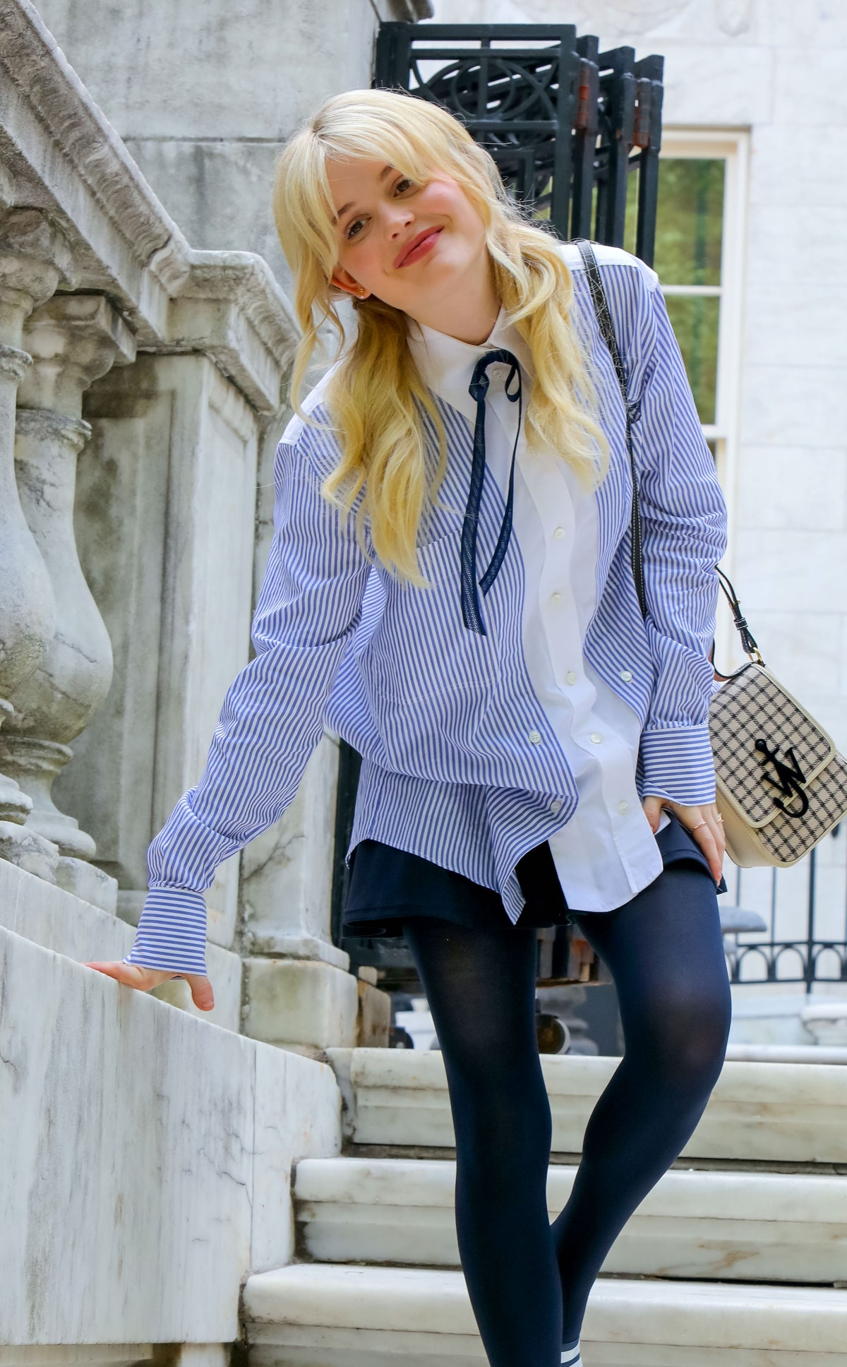 Emily Alyn Lind on the set of the Gossip Girl reboot