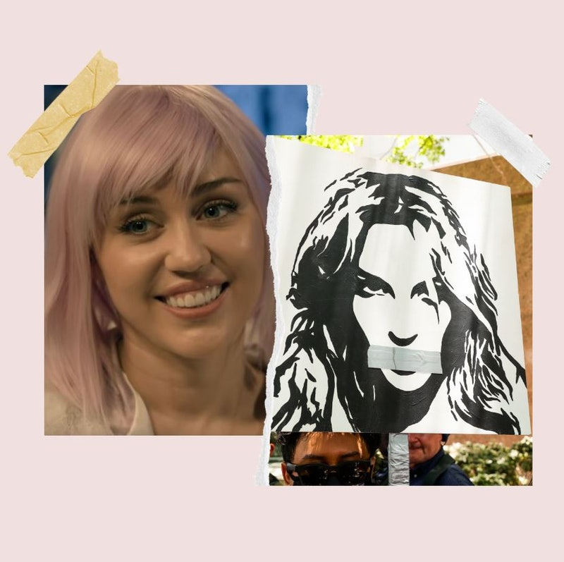 Miley Cyrus appears as her 'Black Mirror' character Ashley O, and a Britney Spears protest sign is u...