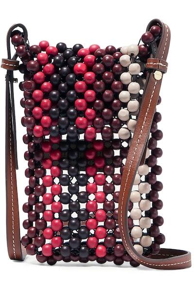 Dumi Faux Leather-Trimmed Beaded Shoulder Bag