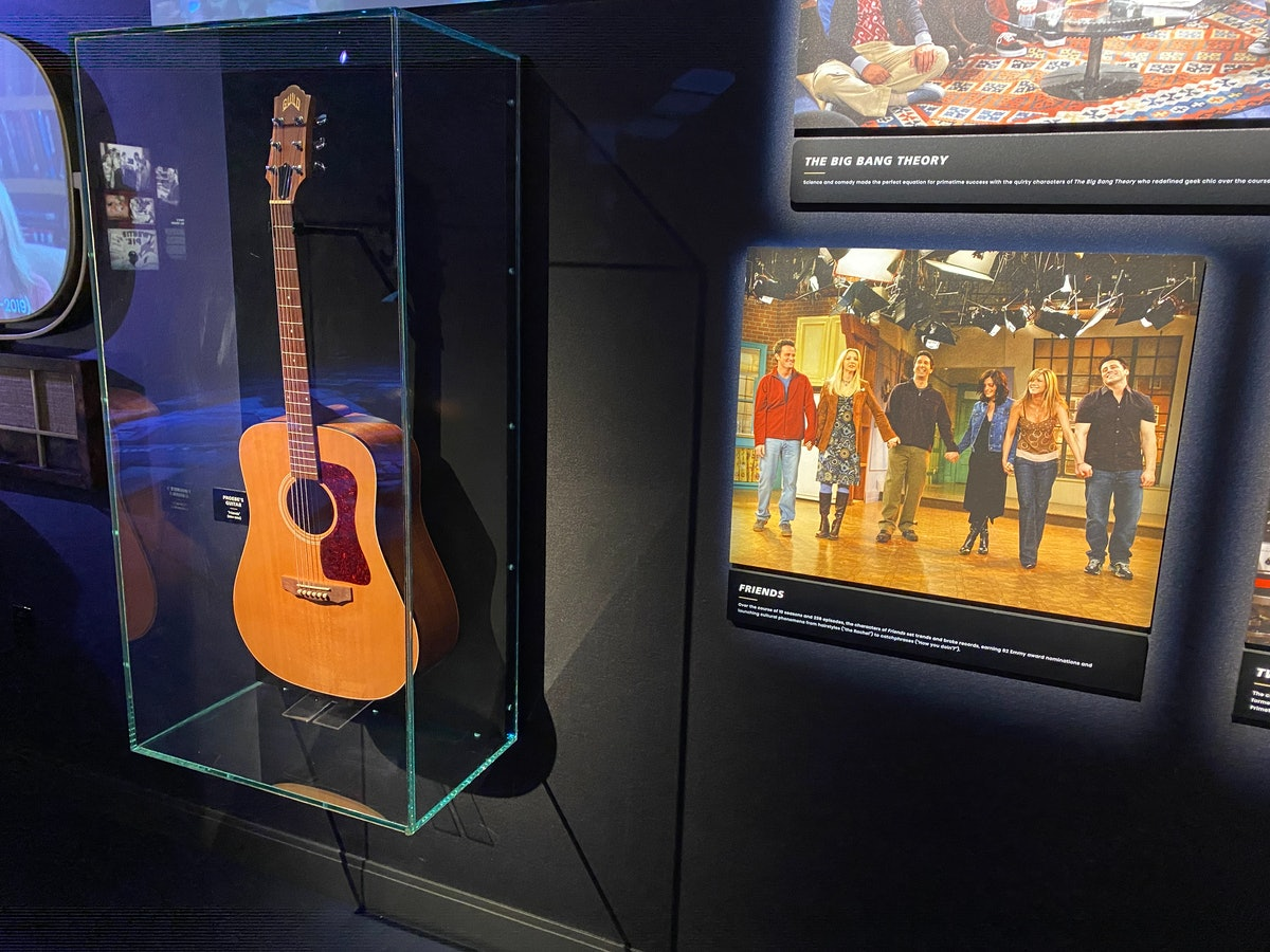 Phoebe's guitar from 'Friends' is on display at the Warner Bros. Studio Tour in Hollywood.