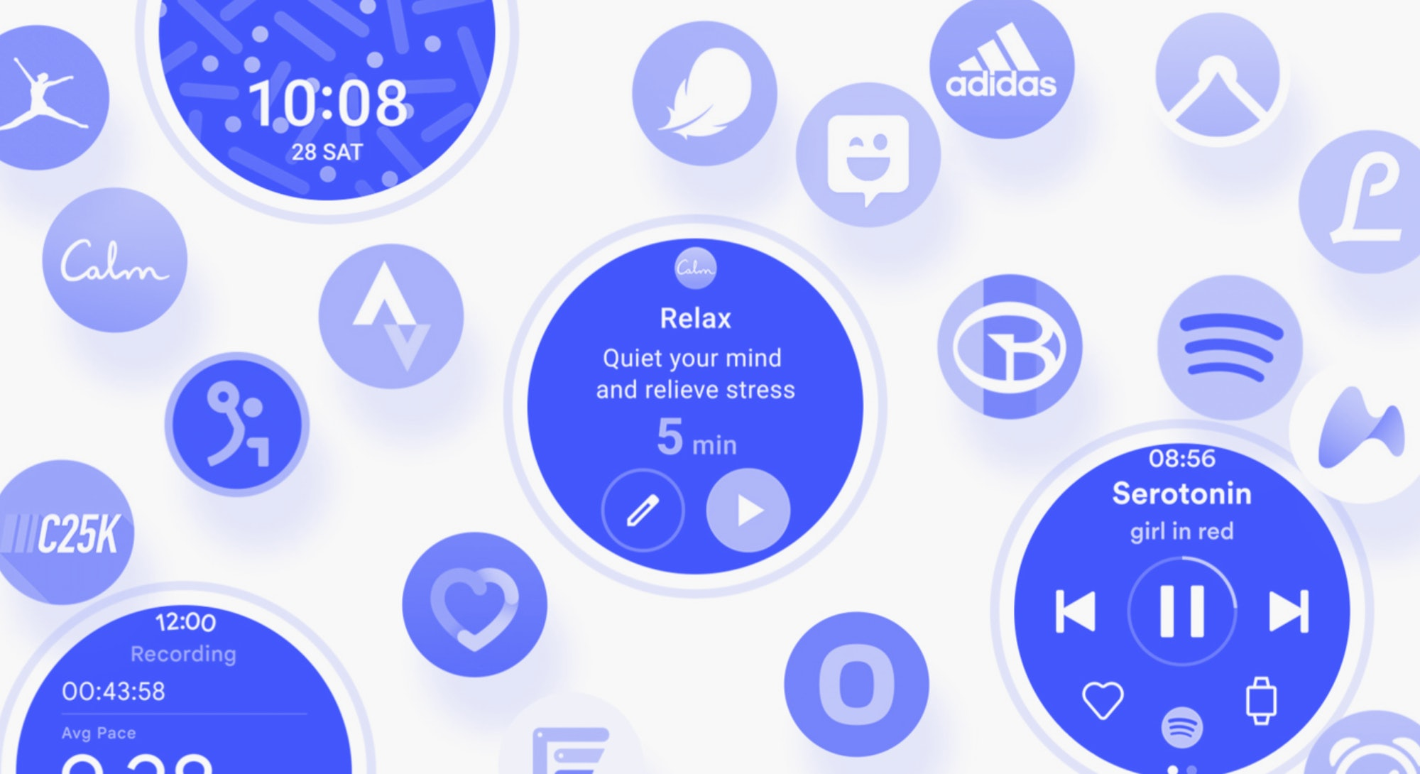 A screen shot from Samsung's One UI Watch unveil during Mobile World Congress. Google. Smartwatch. W...