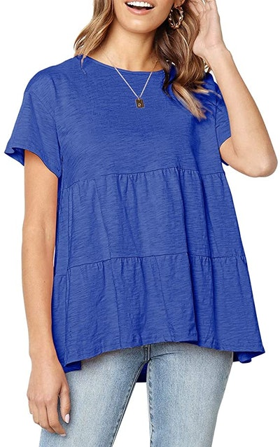 Defal Short Sleeve Loose T Shirt