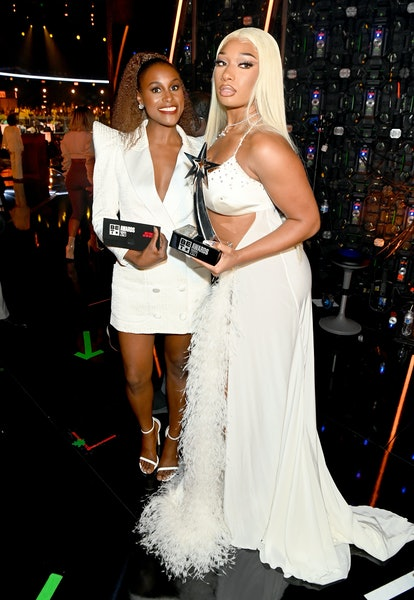 Issa Rae and Best Female Hip Hop Artist award winner Megan Thee Stallion pose at the BET Awards 2021 at Microsoft Theater on June 27, 2021 in Los Angeles, California.