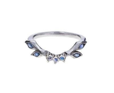 Sapphire and Moonstone Curved Ring