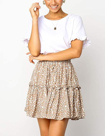 Relipop Floral Flared Pleated Short Skirt