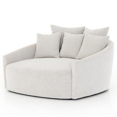 Classic Light Grey Performance Round Sofa