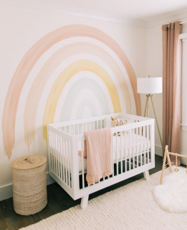 Rainbow mural baby nursery