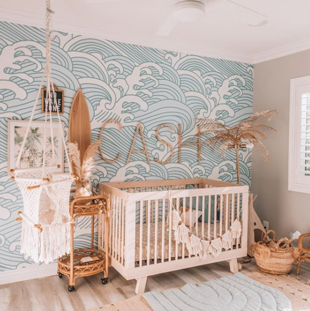 A beach-themed baby nursery room