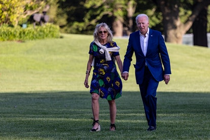 First lady Jill Biden walk on the south lawn of White House on June 27, 2021 in Washington, DC. The Bidens and staffers spent the weekend at Camp David.