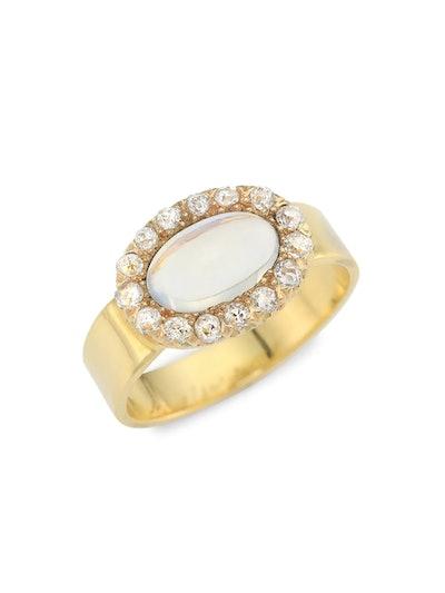 18K Yellow Gold Moonstone & Diamond Ring