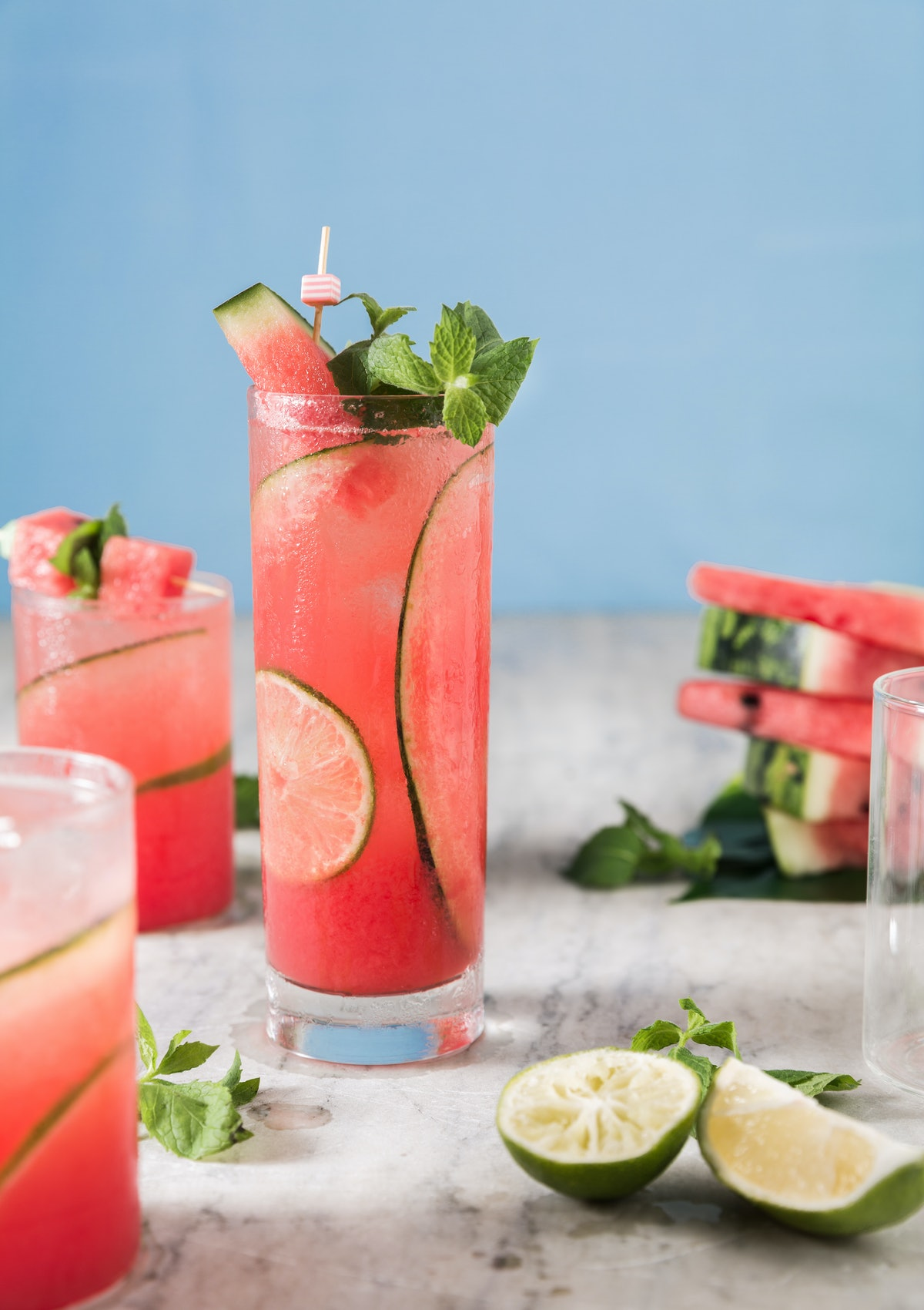 A watermelon mojito makes a great low sugar cocktail for summer.