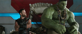 Thor and Hulk sitting together in Thor: Ragnarok