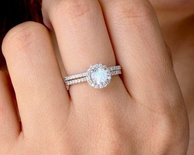 Set Diamond Halo Rainbow Moonstone Engagement Ring