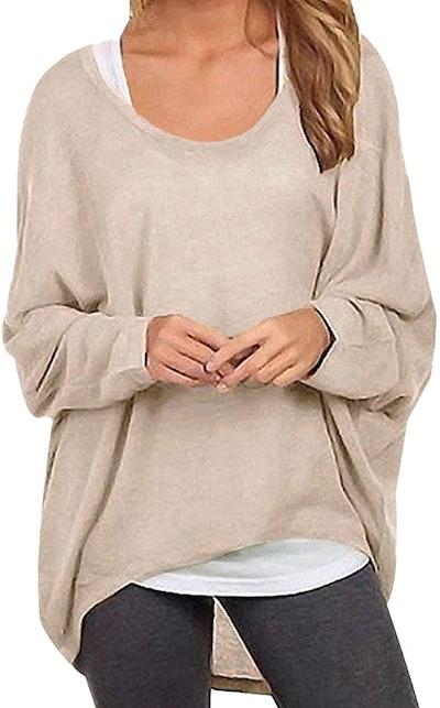 ZANZEA Batwing Sleeve Oversized Sweater