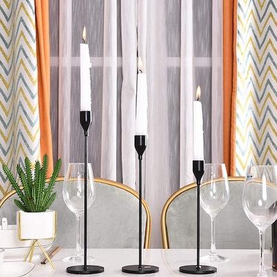 SUJUN Matte Black Candle Holders (Set of 3)
