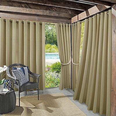 Dermot Indoor/Outdoor UV Protectant 84-Inch Grommet Curtain Panel in White