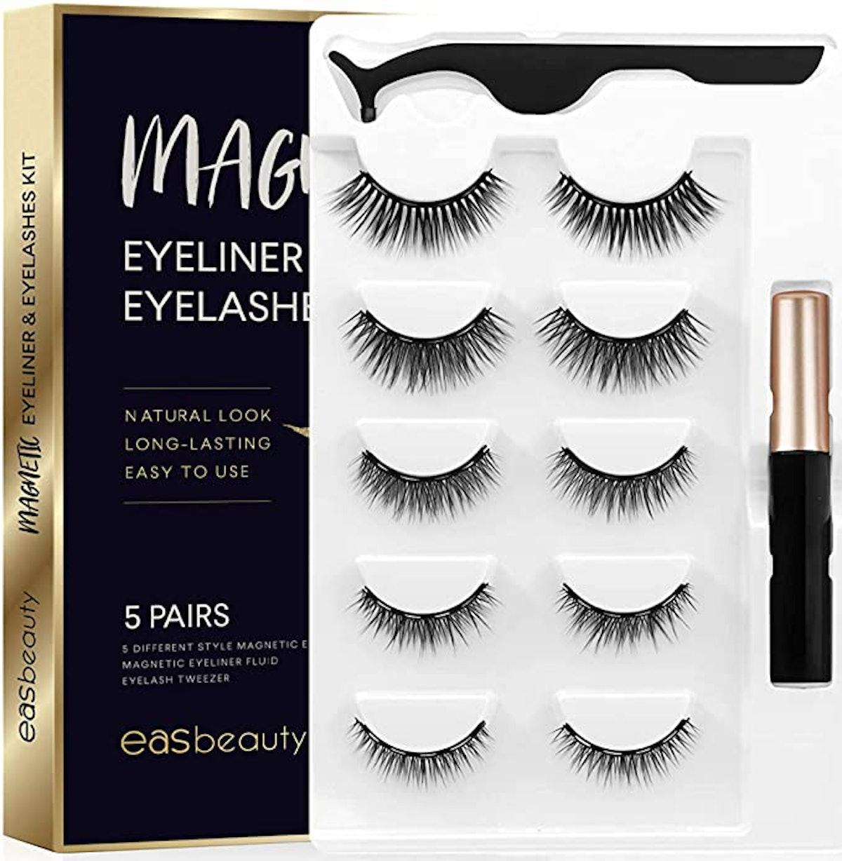easbeauty 2020 Upgraded Magnetic Eyeliner & Eyelashes Kit (5 Pairs)