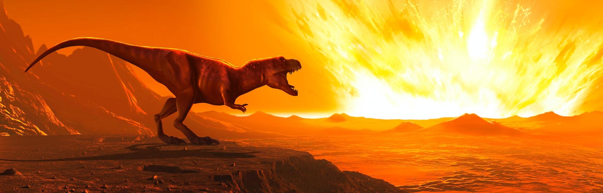 Tyrannosaurus observing asteroid impact