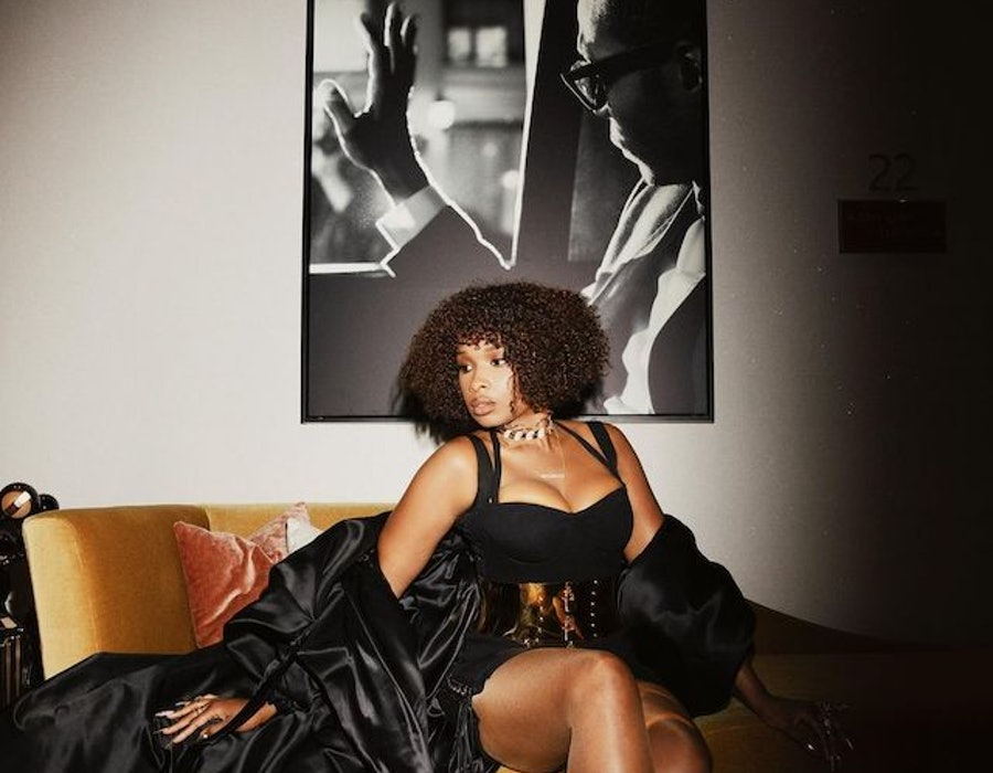Jennifer Hudson poses on couch ahead of BET Awards