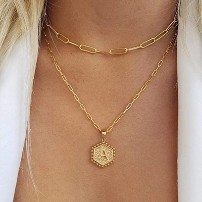 M MOOHAM Dainty Layered Initial Necklaces