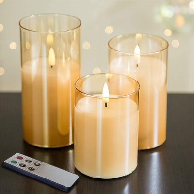 Eywamage Gold Glass Flickering Flameless Candles (Set of 3)