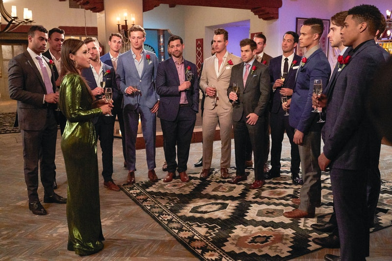 Katie Thurston and the Season 17 Bachelorette contestants at a cocktail party via ABC's press site