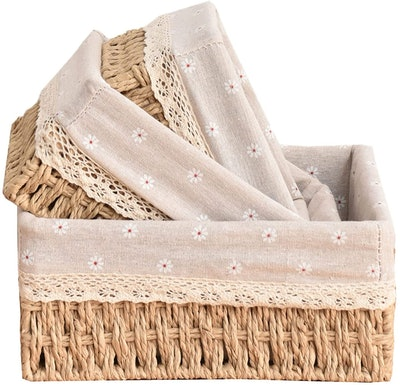 Ouda Wicker Baskets With Removable Liners (Set of 3)