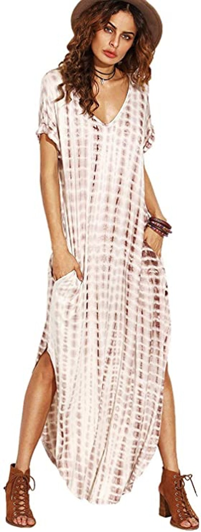 MakeMeChic Short Sleeve Maxi Dress