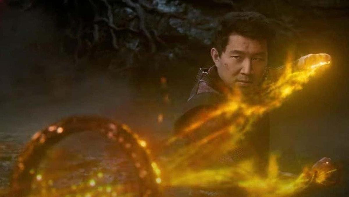 Simu Liu as the titular Shang Chi wielding the Ten Rings in 'Shang-Chi and the Legend of the Ten Rin...