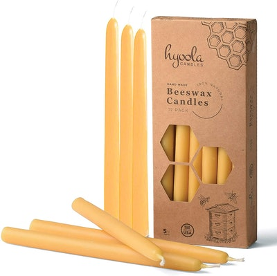 9-Inch Beeswax Taper Candles (12-Pack)