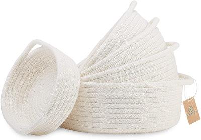 NaturalCozy 5-Piece Natural Cotton Woven Basket Set