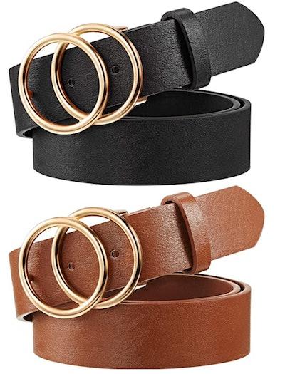 Syhood Faux Leather Belt (Set of 2)