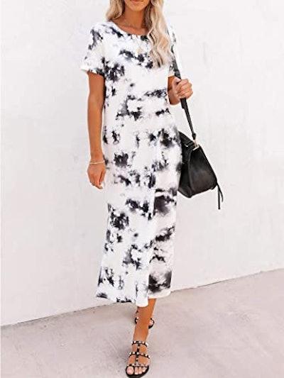 Naggoo Short Sleeve Split Maxi Dress With Pockets