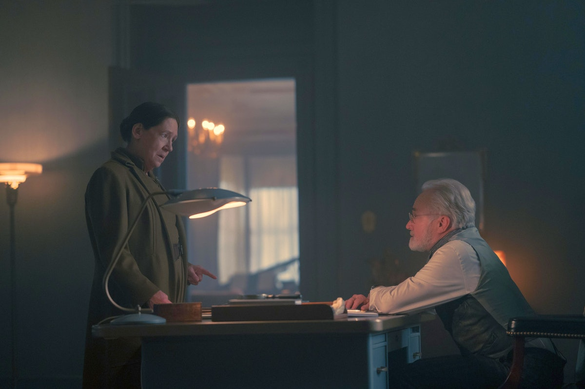 Ann Dowd and Bradley Whitford as Aunt Lydia and Commander Lawrence, clawing their way up the power s...
