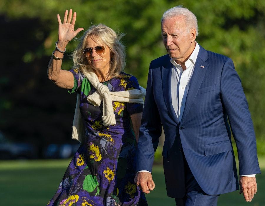 President Joe Biden and first lady Jill Biden walk on the south lawn of White House on June 27, 2021.