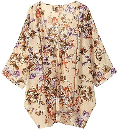 OLRAIN Floral-Print Sheer Chiffon Kimono