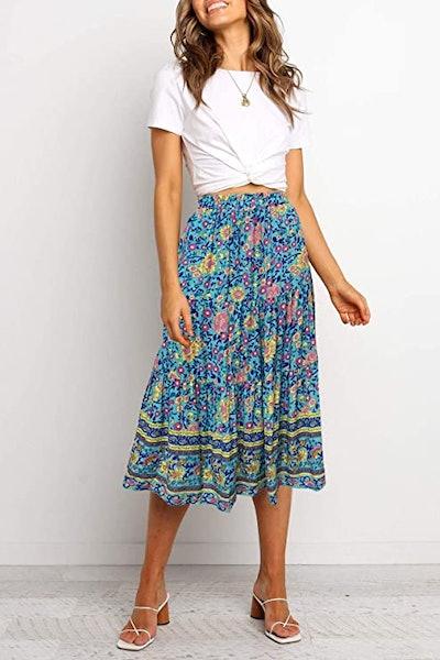 Merokeety Pleated A-Line Midi Skirt