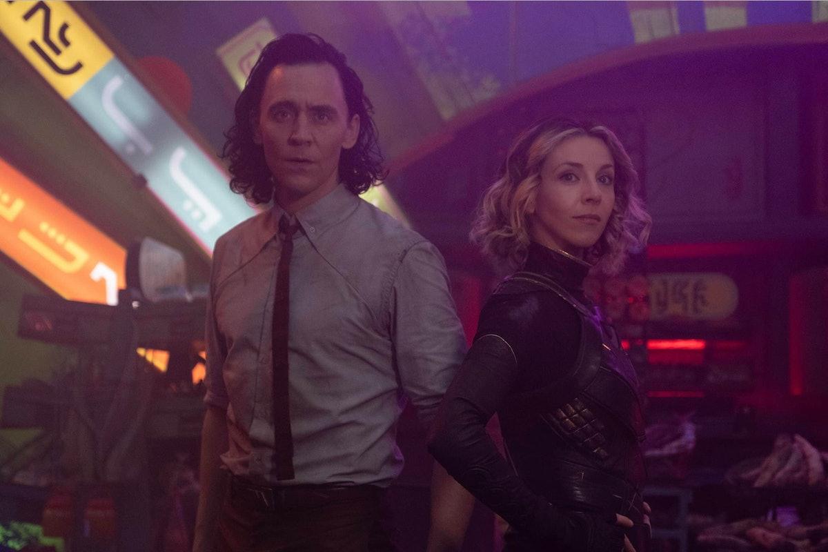 Tom Hiddleston as Loki and Sophia Di Martino as Sylvie, two Lokis out of many in 'Loki'