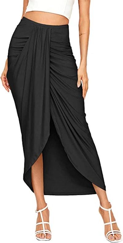 SheIn Slit Wrap High Waist Maxi Skirt