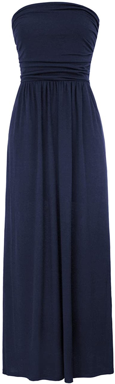 Grace Karin Strapless Casual Ruched Maxi Dress With Pockets
