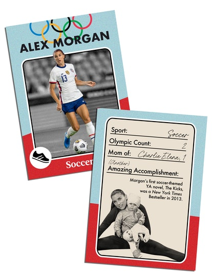 Alex Morgan: Sport: Soccer Olympic count: 2 Mom of: Charlie Elena, 1 (Another) amazing accomplishment: Morgan's first soccer-themed YA novel, The Kicks, was a New York Times Bestseller in 2013.