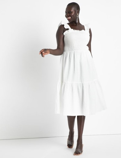 Smocked Bodice Ruffle Day Dress