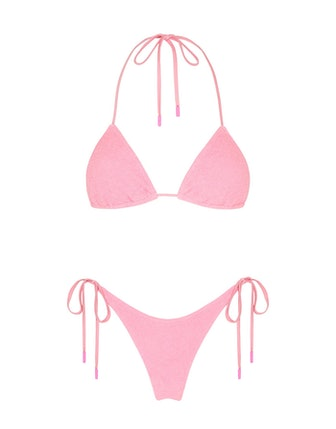 Pink Vinca bikini set in color Terry Floss, which Hailey Bieber wore on her romantic getaway to Gree...