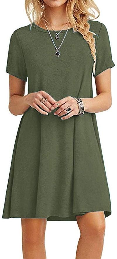Molerani Casual Loose T-Shirt Dress